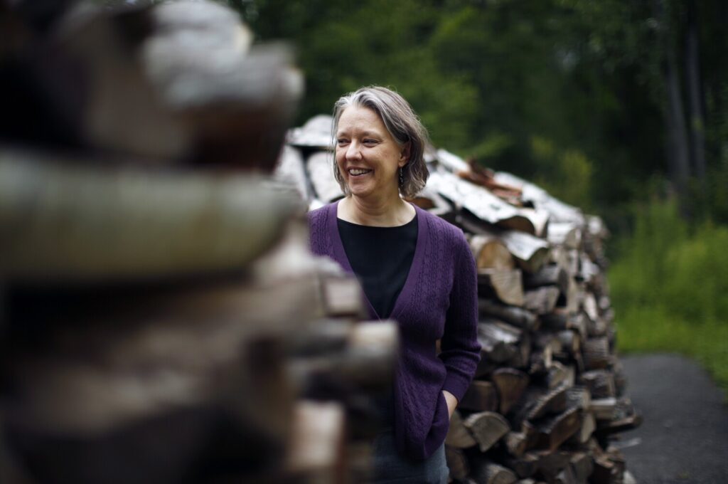 Lisa Hayden of Scarborough translates contemporary Russian novels into English. She stacks her firewood in a circle, an idea she got from one of the novels she translated.