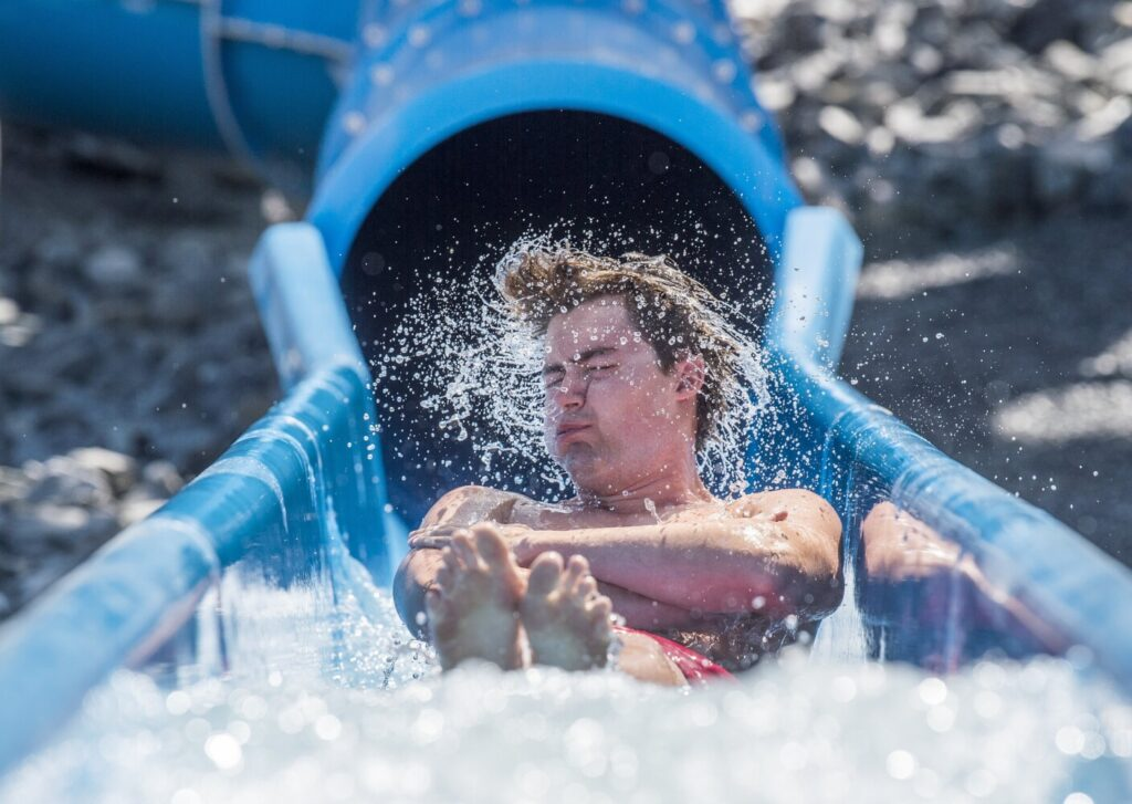 Long-awaited water slides at Waterville pool open to the ...