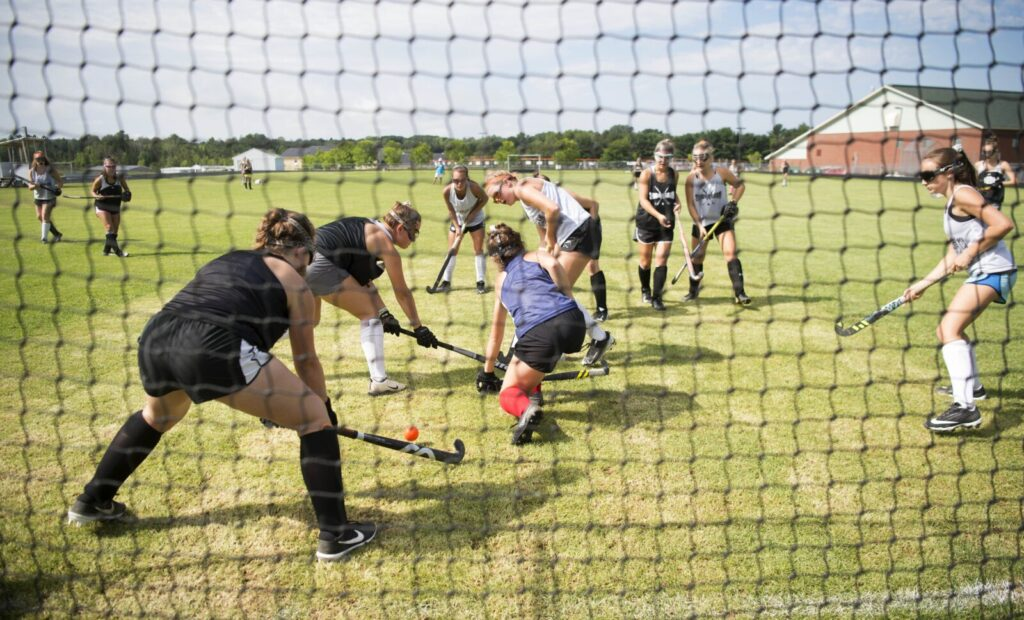 The Skowhegan field hockey team works through a drill during an Aug. 22 practice in Skowhegan.