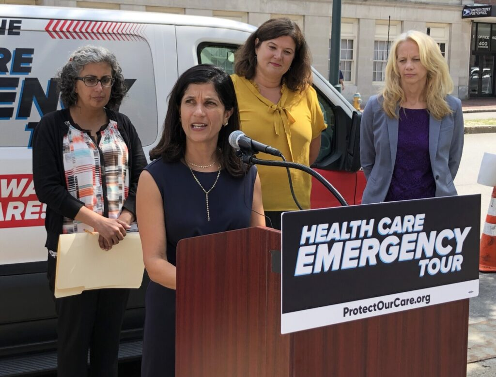 Maine House Speaker Sara Gideon speaks Monday at an event in Portland that highlighted the Trump administration's efforts to repeal the Affordable Care Act.