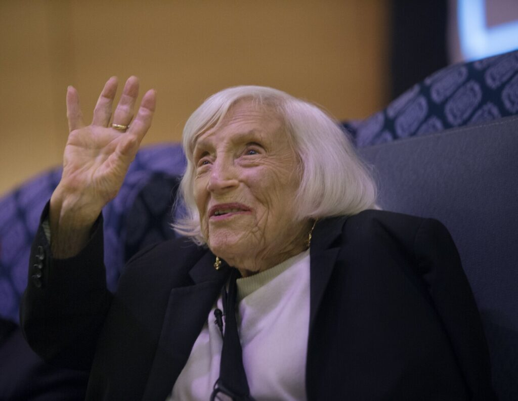 "Marthe Cohn, a 99-year-old author, former spy and Holocaust survivor, who wrote about her experiences in the book ""Behind Enemy Lines,"" tells her story Wednesday at the University of Southern Maine's Hannaford Hall."