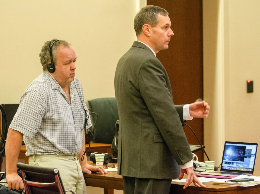 Andrew Bilodeau, left, and his attorney Kevin Sullivan during opening statements of a jury trial on Dec. 12, 2018, at Capital Judicial Center in Augusta.