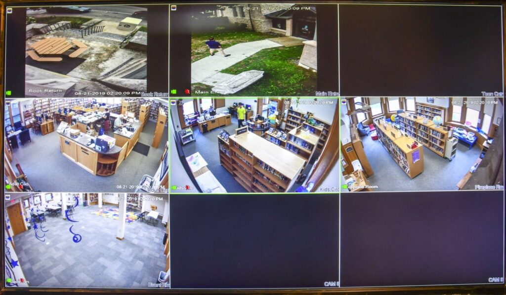 A display of the view from the six security camera at at Charles M. Bailey Library on Wednesday in Winthrop.