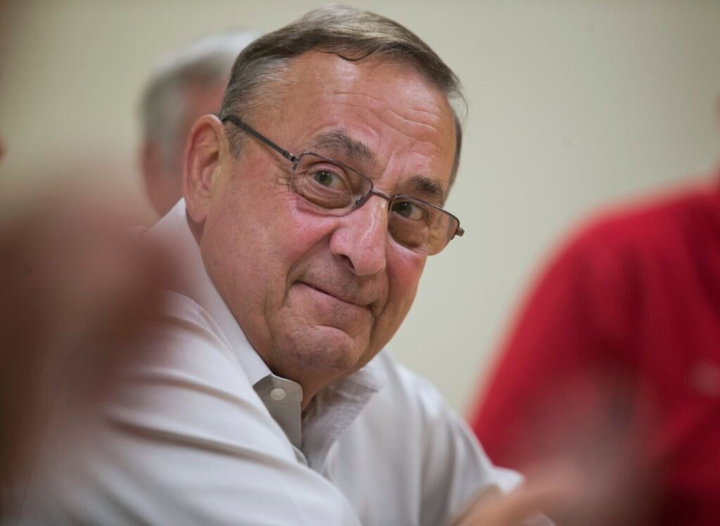 Former Gov. Paul LePage speaks at an economic roundtable last month.