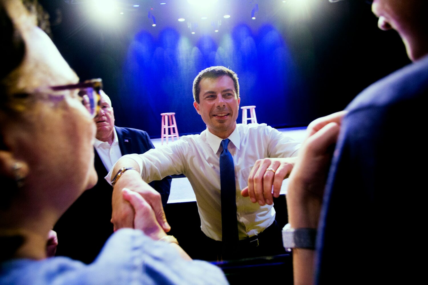 Pete Buttigieg greets supporters after speaking during his fundraiser Aug. 22 night at Portland's State Theater.