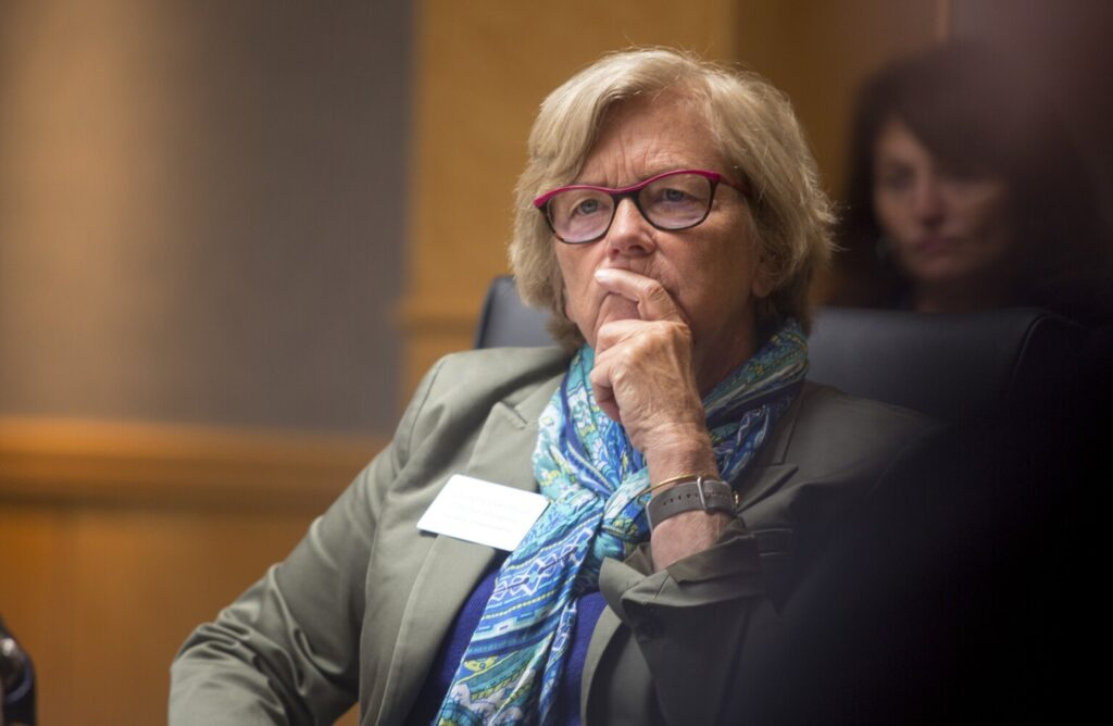 Rep. Chellie Pingree listens as local organization leaders talk at a roundtable discussion about food waste reduction practices at Hannaford corporate headquarters in 2019.