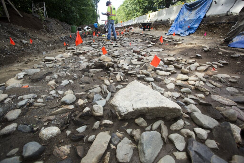 A team of archaeologists with the Maine Historic Preservation Commission works at the Province Fort dig site Wednesday on River Road in Windham. The team has to work fast because its project coincides with the reconstruction of River Road.