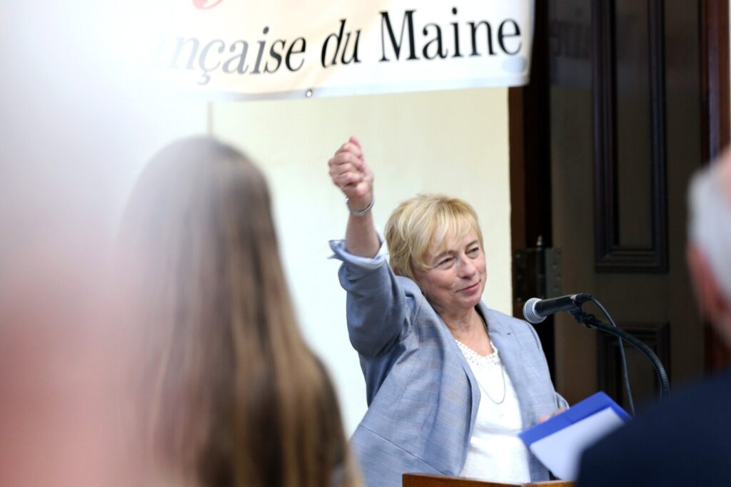 Gov. Janet Mills speaks during the launch of Alliance Francaise du Maine at the U.S. Custom House in Portland on Thursday night.