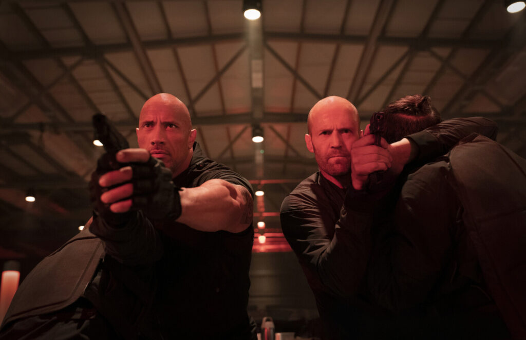 "Dwayne Johnson, left, and Jason Statham star in  ""Fast & Furious Presents: Hobbs & Shaw."""