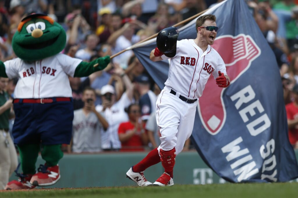 In a rare at-bat against a left-handed pitcher, Brock Holt drove in the winning run against the Royals in the completion of a suspended game on Thursday.