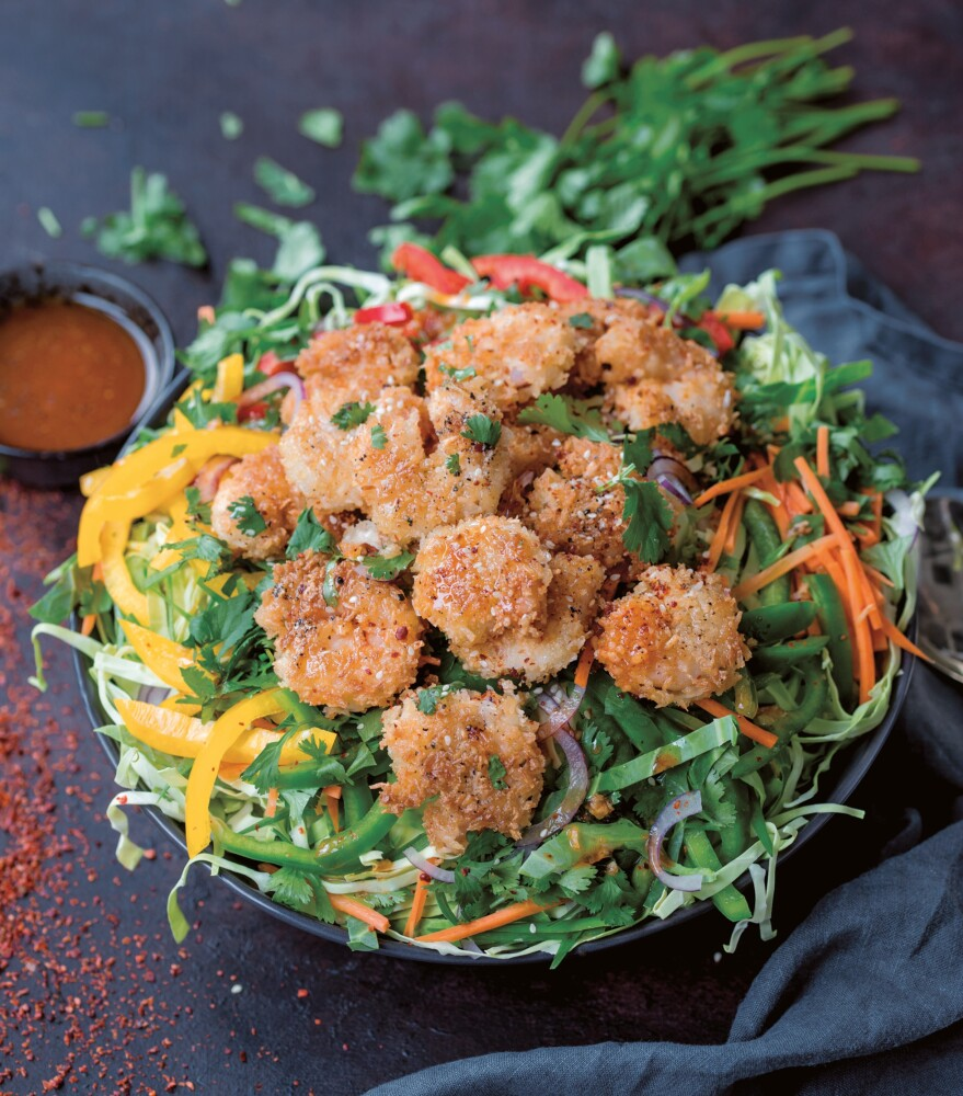 Coconut Shrimp Salad with Asian Slaw.