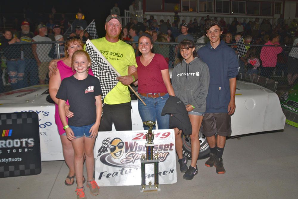 Dan Trask, center, celebrates his Super Street victory at Wiscasset Speedway last Saturday night. The win was Trask's first since 2015.