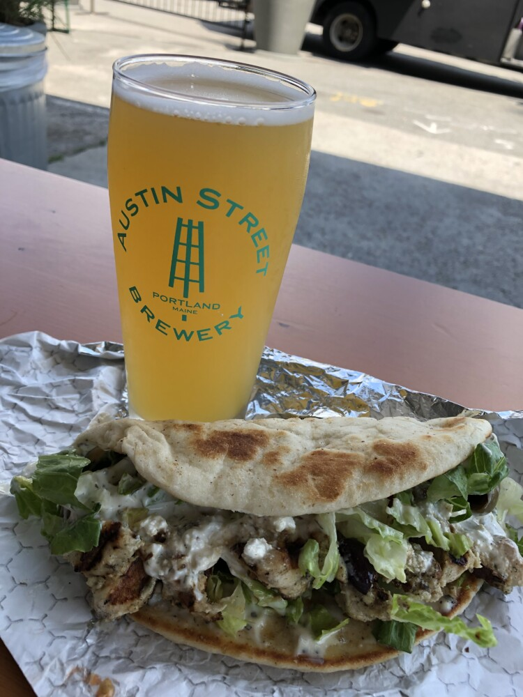 Gyro with chicken from The Greeks of Peaks food truck, along with a Patina pale ale from Austin Street Brewery.