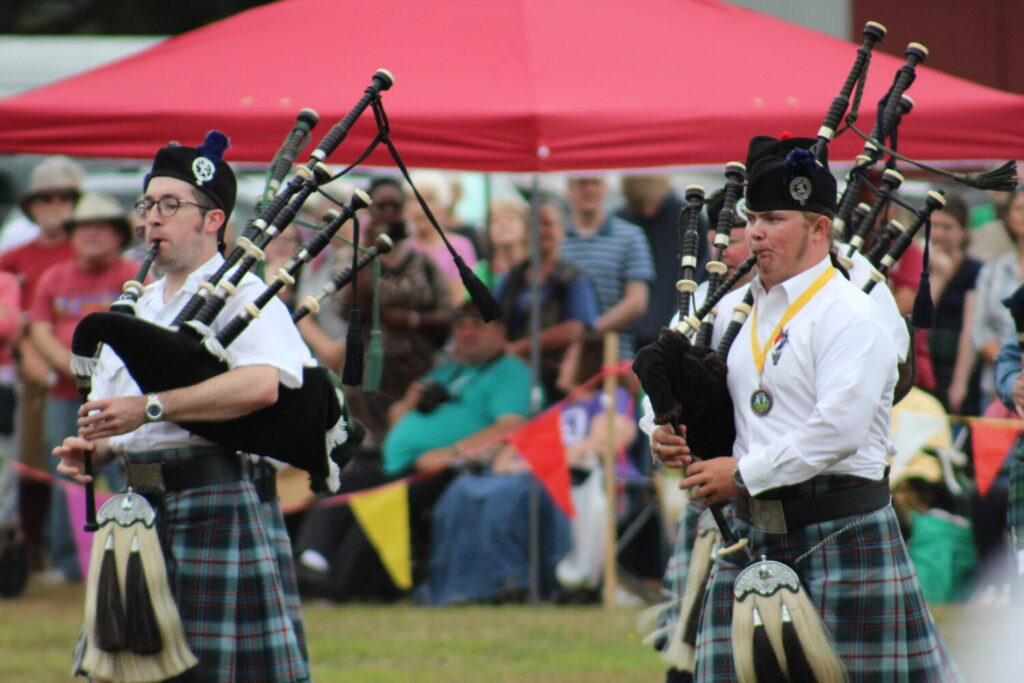 Bagpipers play during the opening ceremonies of the 2019 Maine Highland Games and Scottish Festival on Saturday.