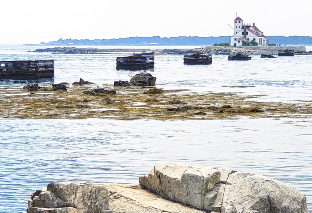 The view from Pier Beach South at Fort Foster at Kittery includes Wood Island Lifesaving Station.