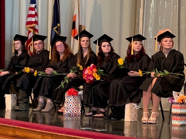 Maine Academy of Natural Sciences students who completed their high school requirements through the school's Threshold program are, from left, Jacob Booth Bryant, Jacob Bosworth, Mara Nickerson, Thalia Marden, Glenice McGregor, Trinity Bragg and Jessica Cousins at graduation ceremonies July 19.