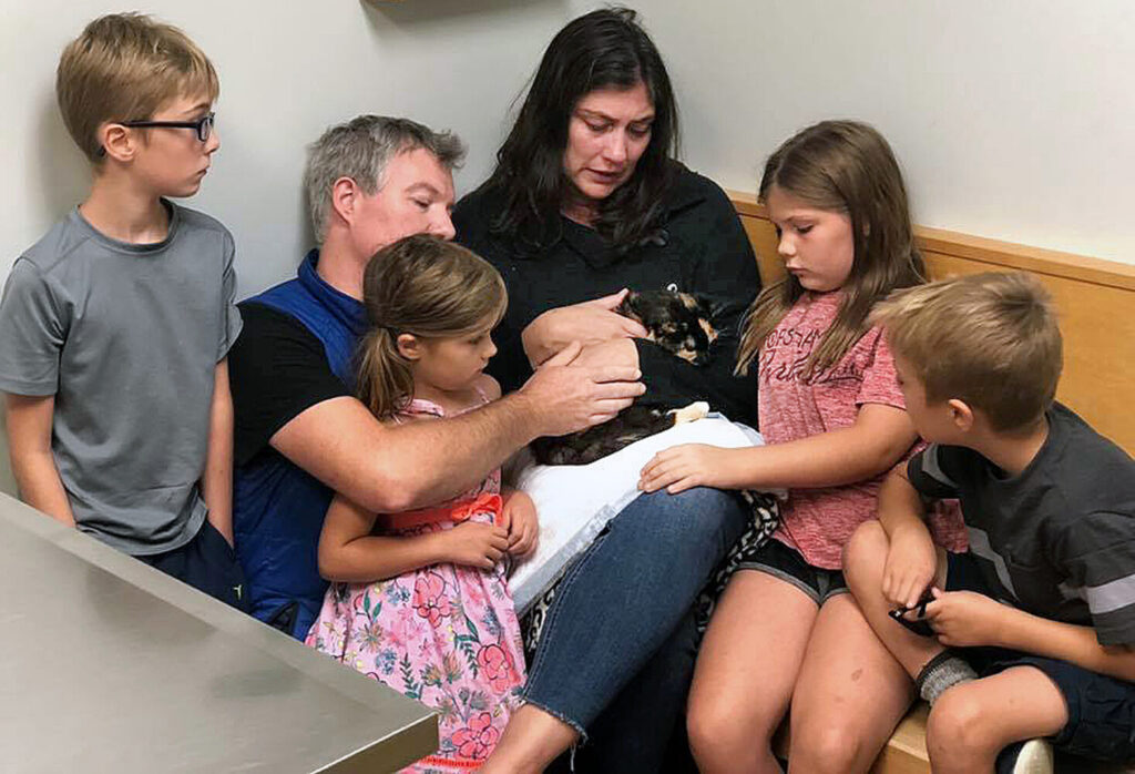 Jennifer Banis, her husband, Ian Talmage, and their children say goodbye to Miss Kitty at Portland Veterinary Emergency and Specialty Care.