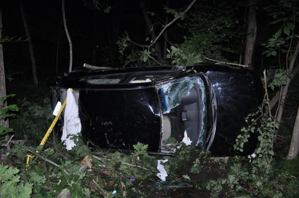 Police say this Kia Forte driven by Hunter Penley of North Berwick hit several trees on S-Curve Road in Springvale before rolling onto its side Saturday night. Penley and his passenger, Dean Towne of Acton, were treated and released at Maine Medical Center.