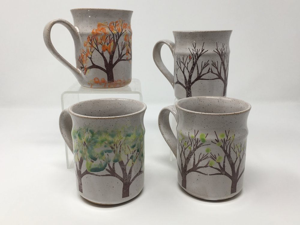 Seasons mugs by artist Mary Kay Spencer of The Potter's House.
