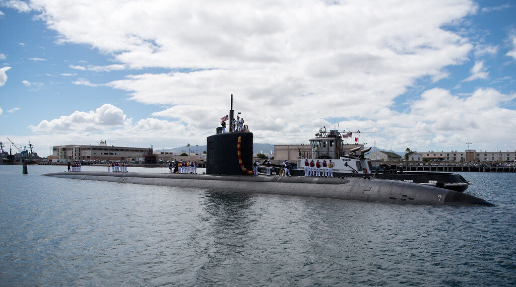 The Los Angeles-class attack submarine USS Santa Fe, shown at Pearl Harbor in August 2017, is at the Portsmouth Naval Shipyard for maintenance.