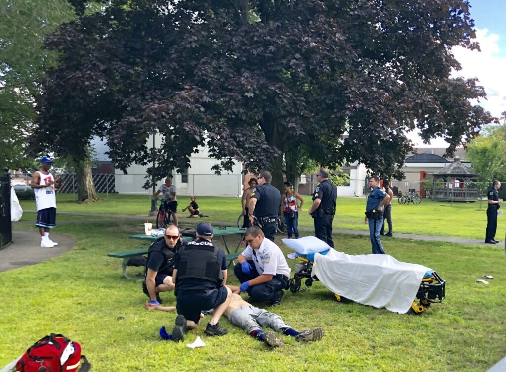Waterville police and state troopers converged on Veterans Memorial Park Thursday afternoon when someone reported a man was stabbed after he threatened a group of people with several knives and screwdrivers. The man apparently suffered a stab wound in the area under his right armpit.