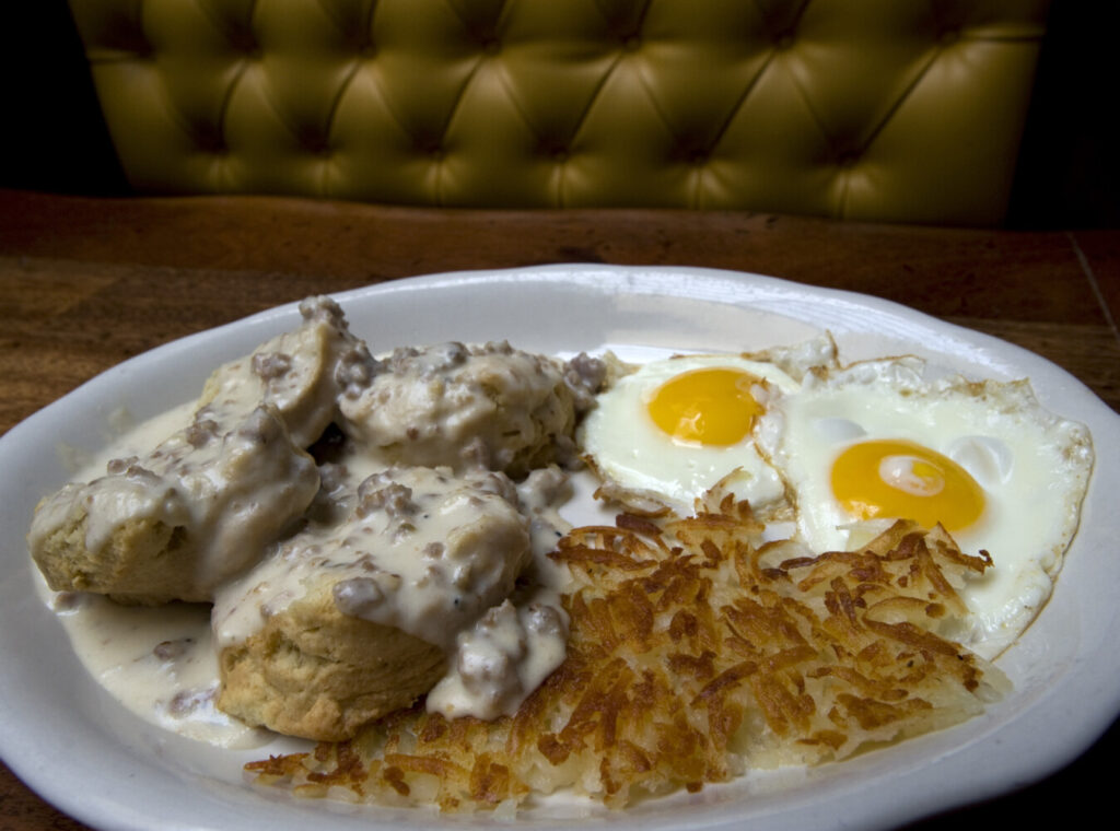 Biscuits and gravy, hash browns and fried eggs. Once a southern classic, biscuits and gravy have gone nationwide.