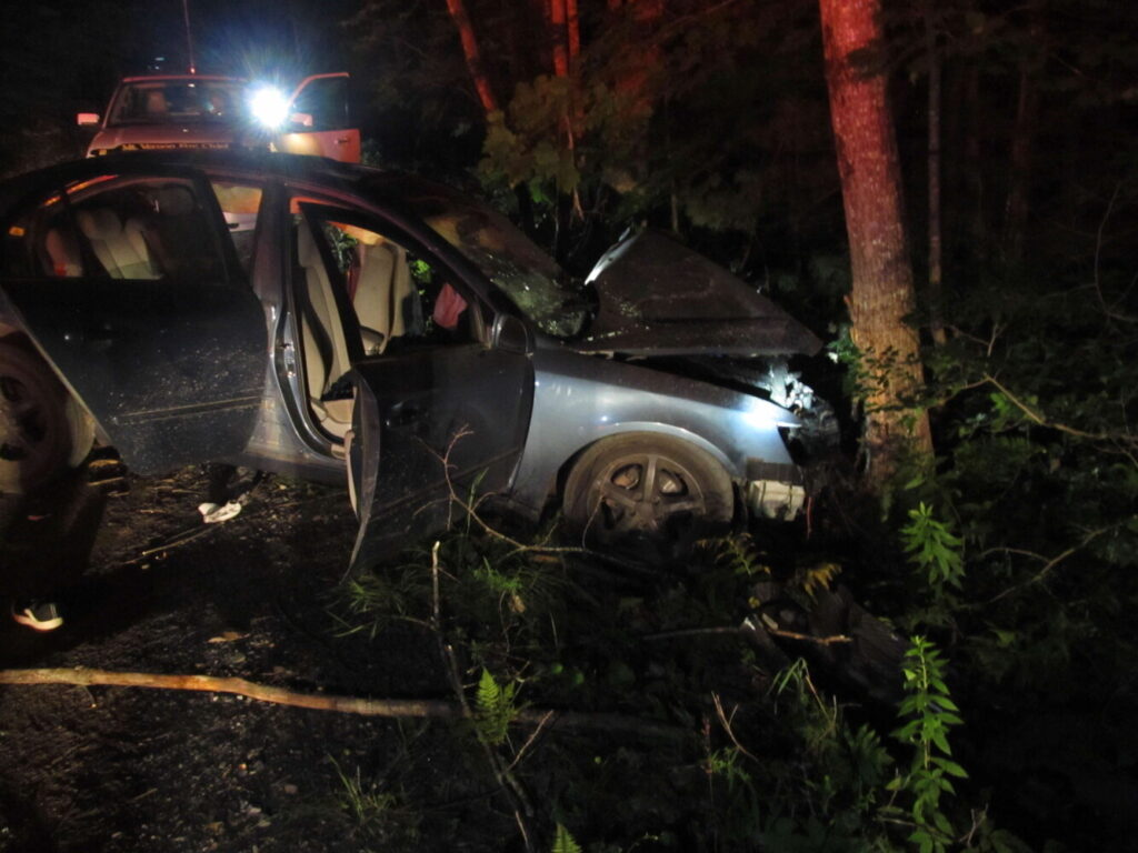 A view of the car involved in a single-vehicle crash on Ithiel Gordon Road in Mount Vernon on Aug. 3.