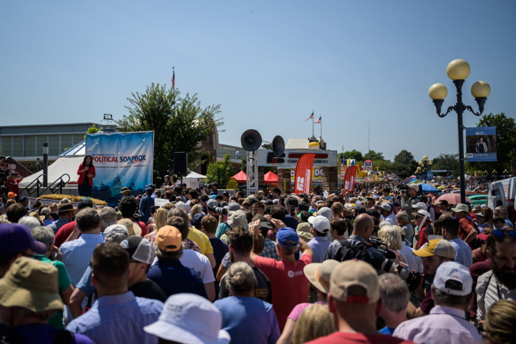 Rep. Tulsi Gabbard, D-Hawaii, speaks to voters at the Iowa State Fair on Friday.