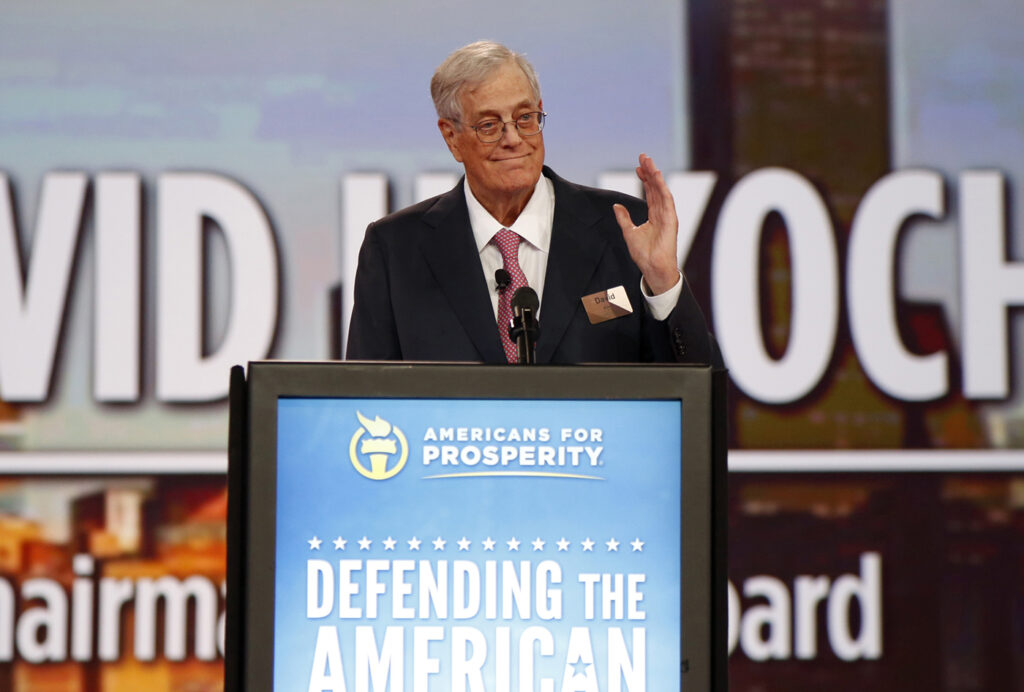 David Koch speaks at the Defending the American Dream summit hosted by Americans for Prosperity in 2015