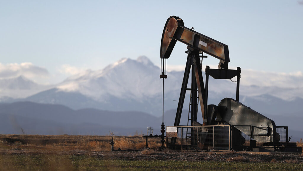 A pump jack over an oil well in north central Colorado.