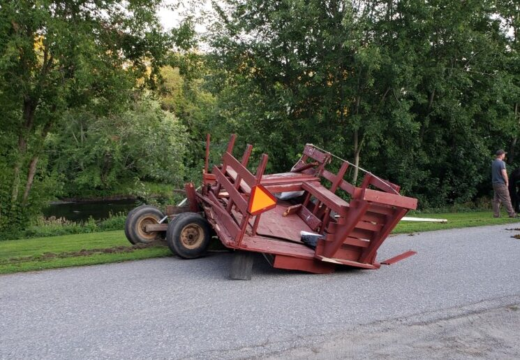A horse-drawn wagon crashed Sunday in Clinton, an incident that police said sent at least three people to the hospital.