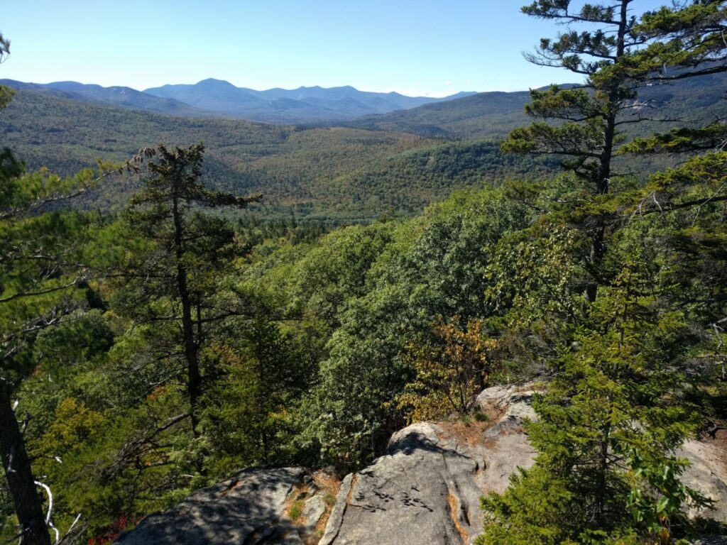 A view to the south from a trail overlook on Boulder Loop Trail in New Hampshire's White Mountains.