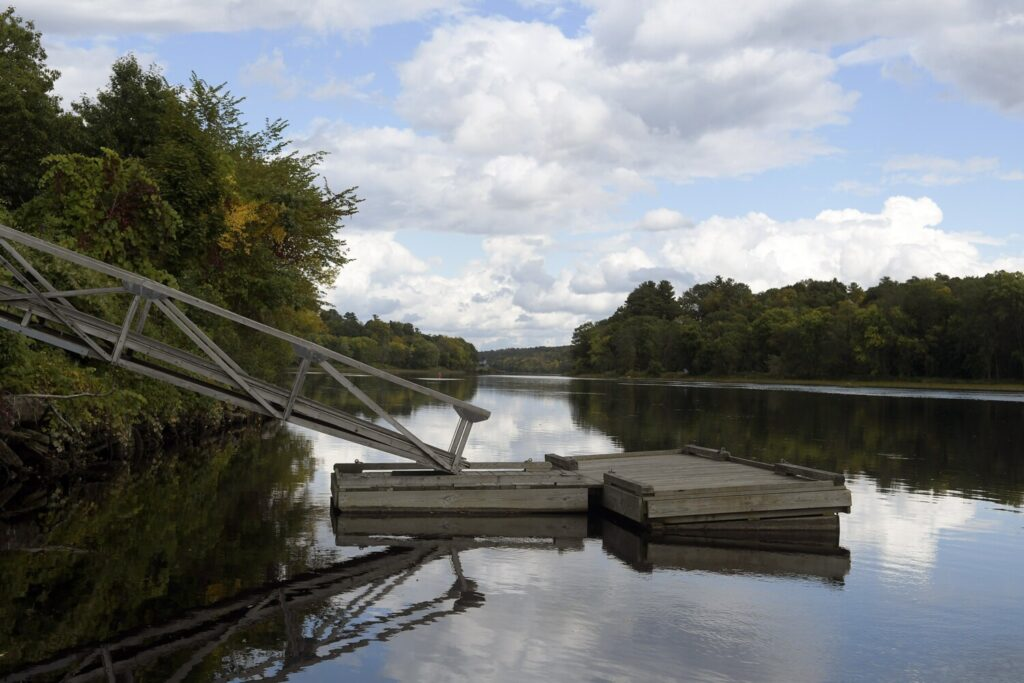 The tie-up on the Kennebec River in Hallowell is seen on Tuesday at the boat launch. A planned redesign of the launch has been postponed until next year after bids came back more expensive than officials had budgeted.