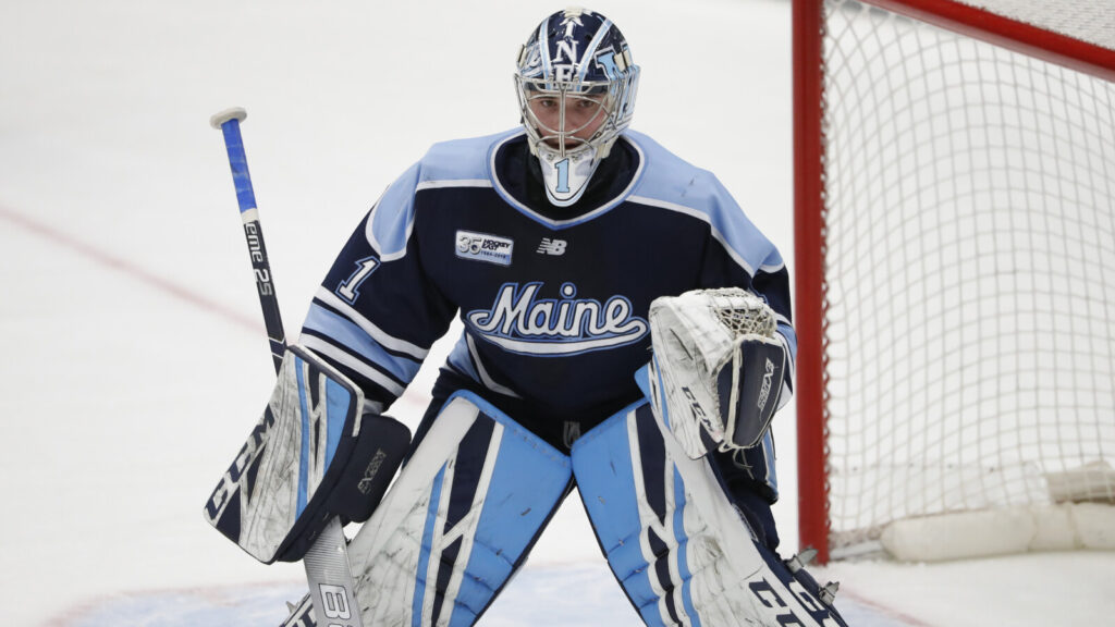 University of Maine junior goalie Jeremy Swayman was a finalists for the Hobey Baker Award, and won the Mike Richter Award given to the top Division I men's hockey college in the country. He's now in Alaska waiting for his pro career with the Bruins to start.