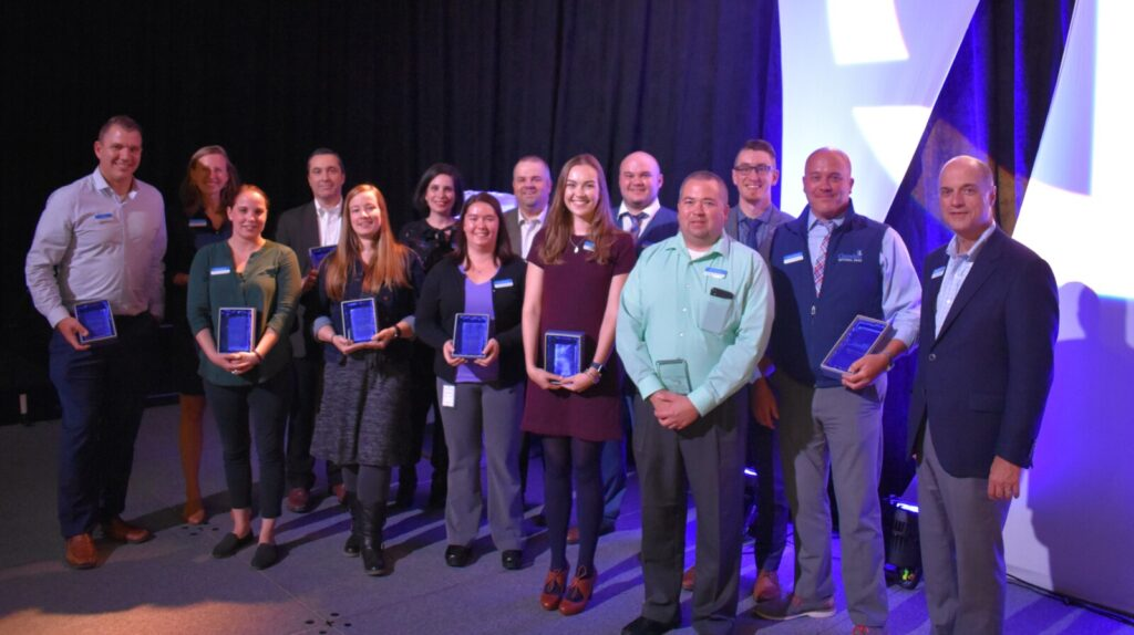 Camden National Bank employees recently received annual recognition awards. The are, from left, Chad Daley, Gretchen Williams, Nychole Hare, Craig Day, Penelope Dougherty, Lauren Epstein, Carrie Bishop, Brent Vicnaire, Elise Wallace, Zachary Short, Dan Swindler, Luke Dean, Mark O'Donal and  Greg Dufour (President & CEO).