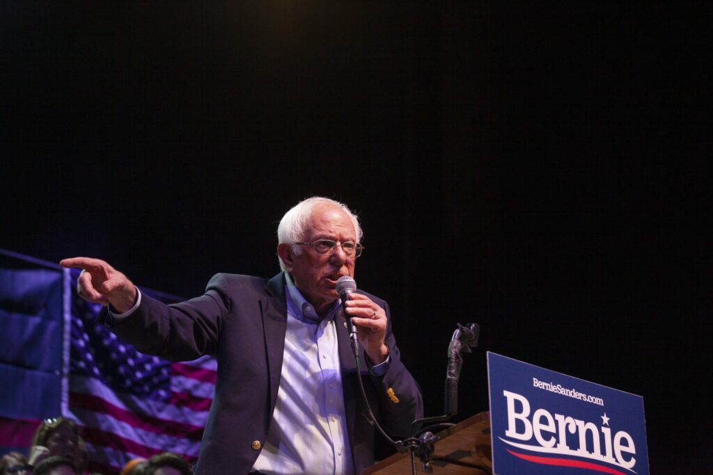 Bernie Sanders speaks at a rally Sept. 1 at the State Theatre in Portland.
