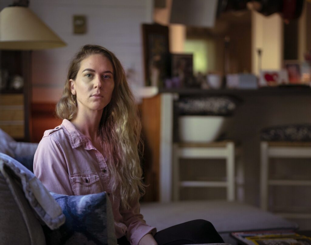 Audra Dieffenbach, photographed at home in Wells, was fired from her job at MaineHealth and had a job offer rescinded after she failed a test for THC levels, which she says were elevated because of a CBD supplement she takes.