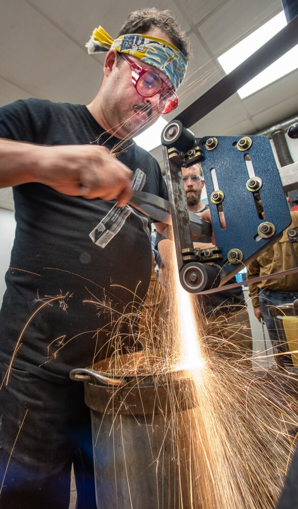 PHOTO: Grinding out a sword in Auburn | Lewiston Sun Journal