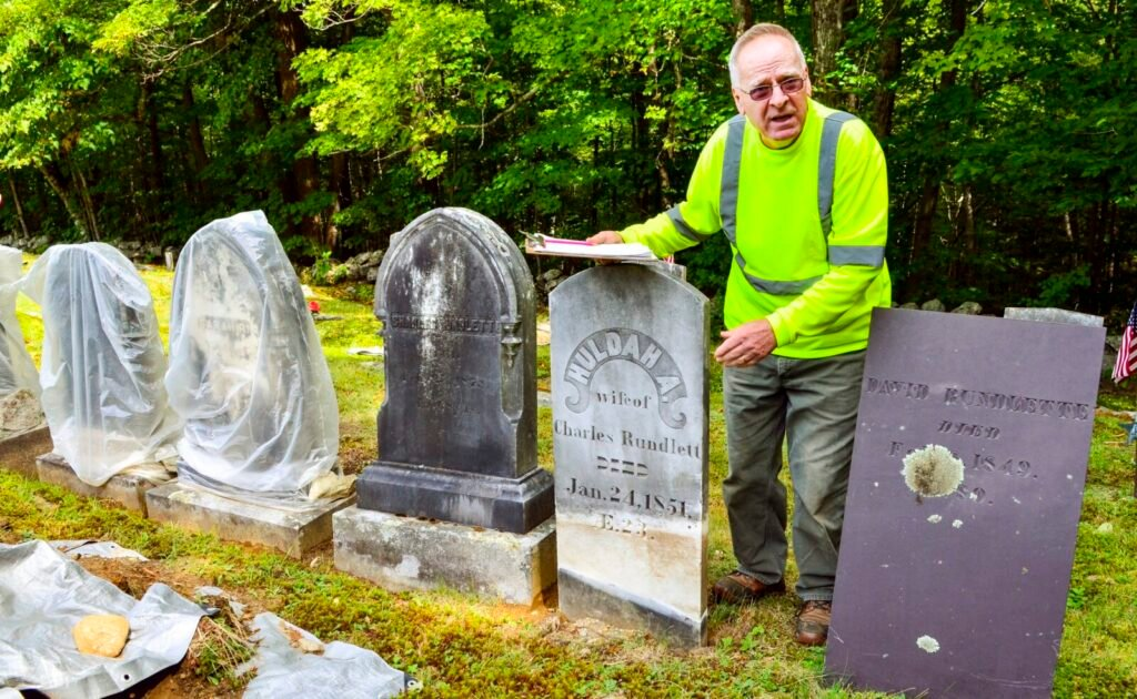 Mount Vernon Sexton Bob Grenier talks about his grave stone repair work during an interview Sept. 10 at Stevens Cemetery in Mount Vernon.