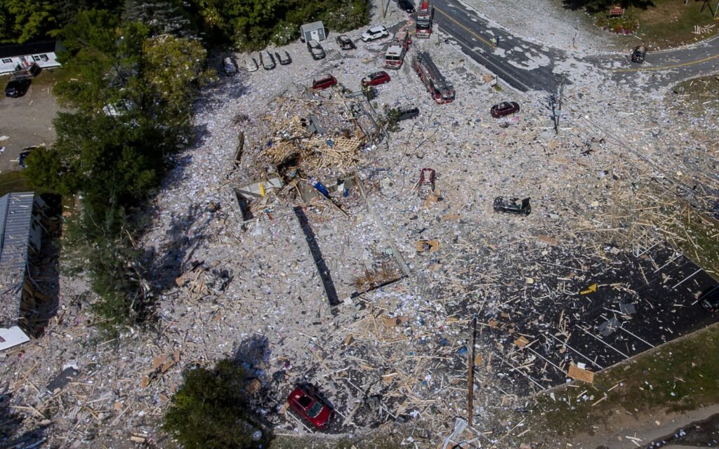 An aerial view of the devastation after the explosion Monday in Farmington.