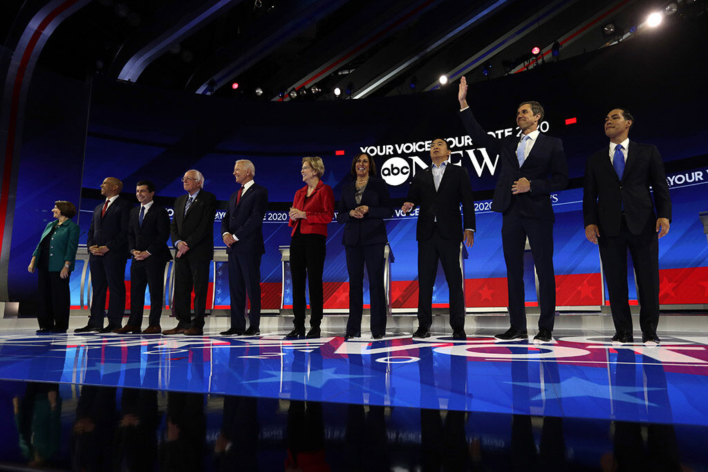 From left, Sen. Amy Klobuchar, Sen. Cory Booker, South Bend Mayor Pete Buttigieg, Sen. Bernie Sanders, former Vice President Joe Biden, Sen. Elizabeth Warren, Sen. Kamala Harris, entrepreneur Andrew Yang, former Texas Rep. Beto O'Rourke and former Housing Secretary Julian Castro are introduced for the Democratic presidential debate Thursday in Houston.