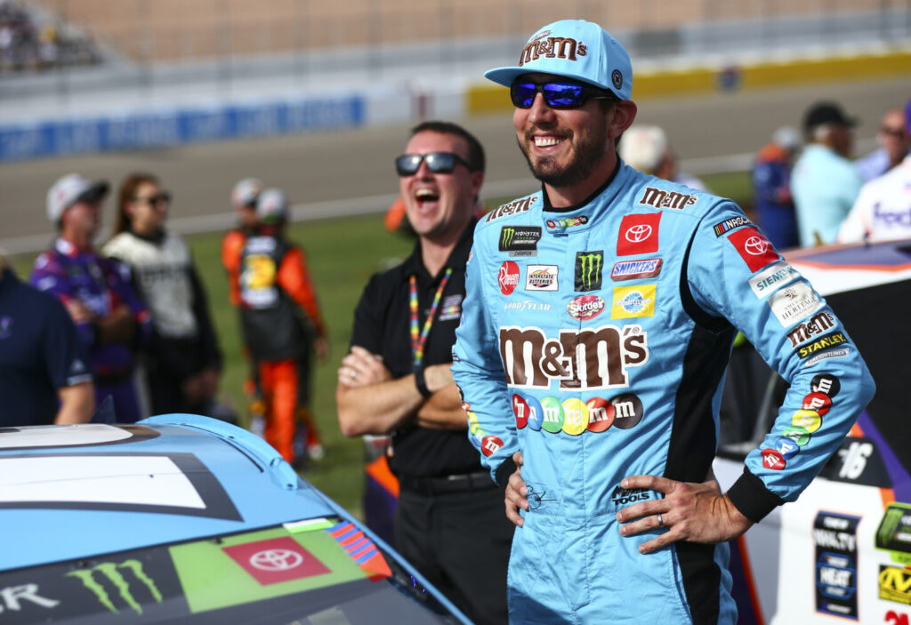 Kyle Busch prepares for a NASCAR Cup Series auto race at Las Vegas Motor Speedway on Sunday.