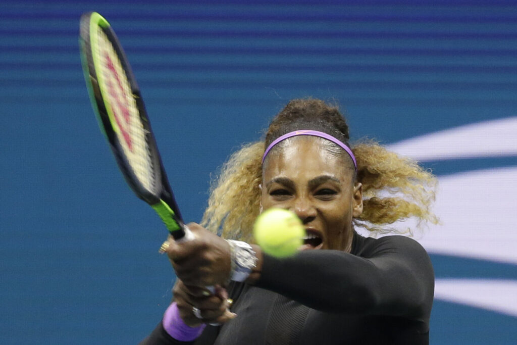 Serena Williams, of the United States, returns a shot to Qiang Wang, of China, during the quarterfinals of the U.S. Open tennis tournament, Tuesday, Sept. 3, 2019, in New York. (AP Photo/Seth Wenig)
