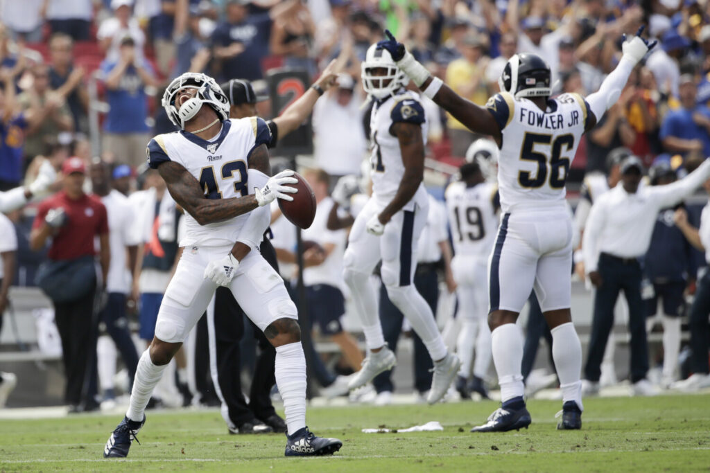 Rams strong safety John Johnson celebrates after an inception during Los Angeles' 27-9 win over the New Orleans Saints on Sunday in Los Angeles.