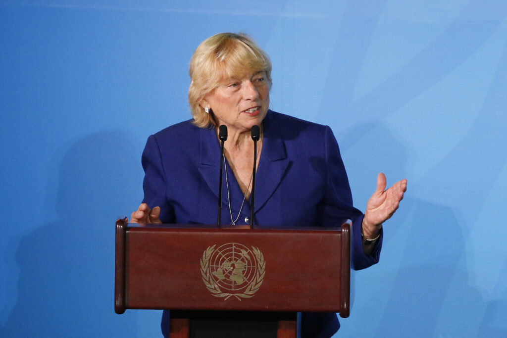 Maine Gov. Janet Mills addresses the Climate Action Summit in the United Nations General Assembly on Monday at U.N. headquarters.