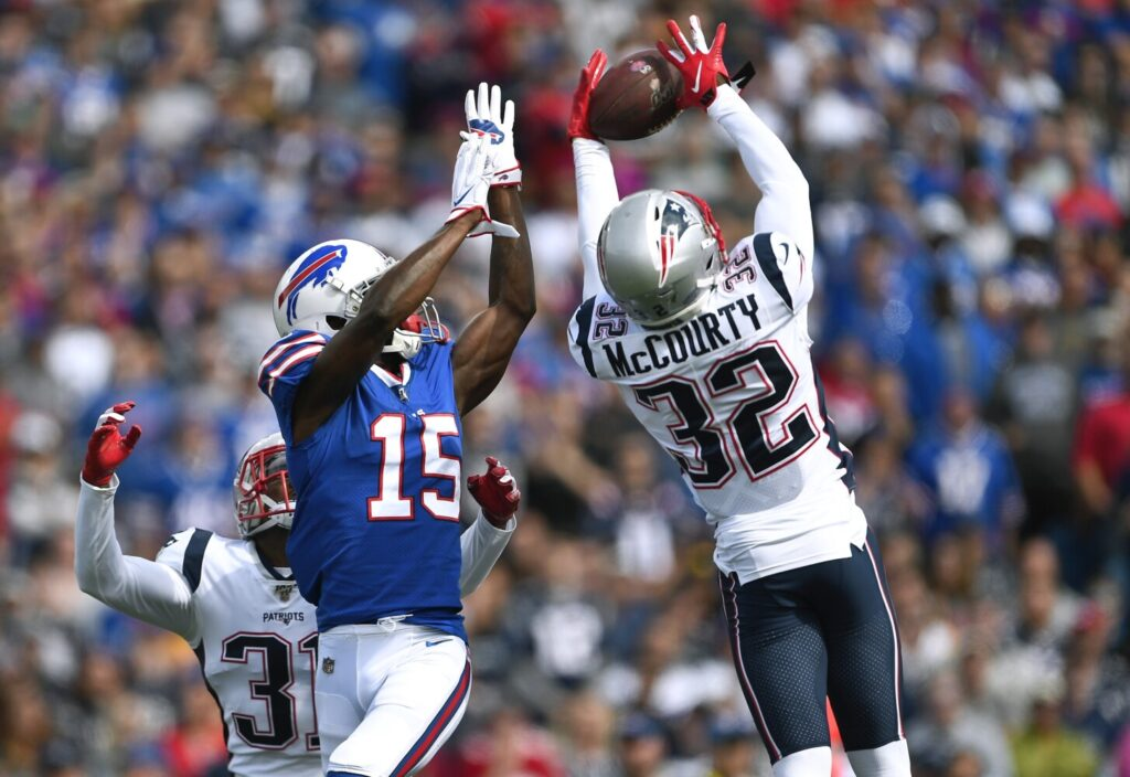 New England Patriots safety Devin McCourty  intercepted a pass intended for Buffalo Bills wide receiver John Brown  in the first half of the Patriots' 16-10 win Sunday in Orchard Park, N.Y.