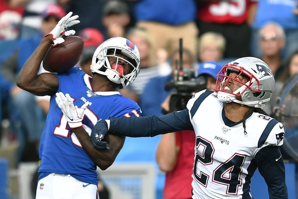 Patriots cornerback Stephon Gilmore defends against Buffalo receiver John Brown during the Patriots' 16-10 win Sunday in Orchard Park, N.Y. The Patriots defense picked up the offense, which struggled to move the ball and score points.
