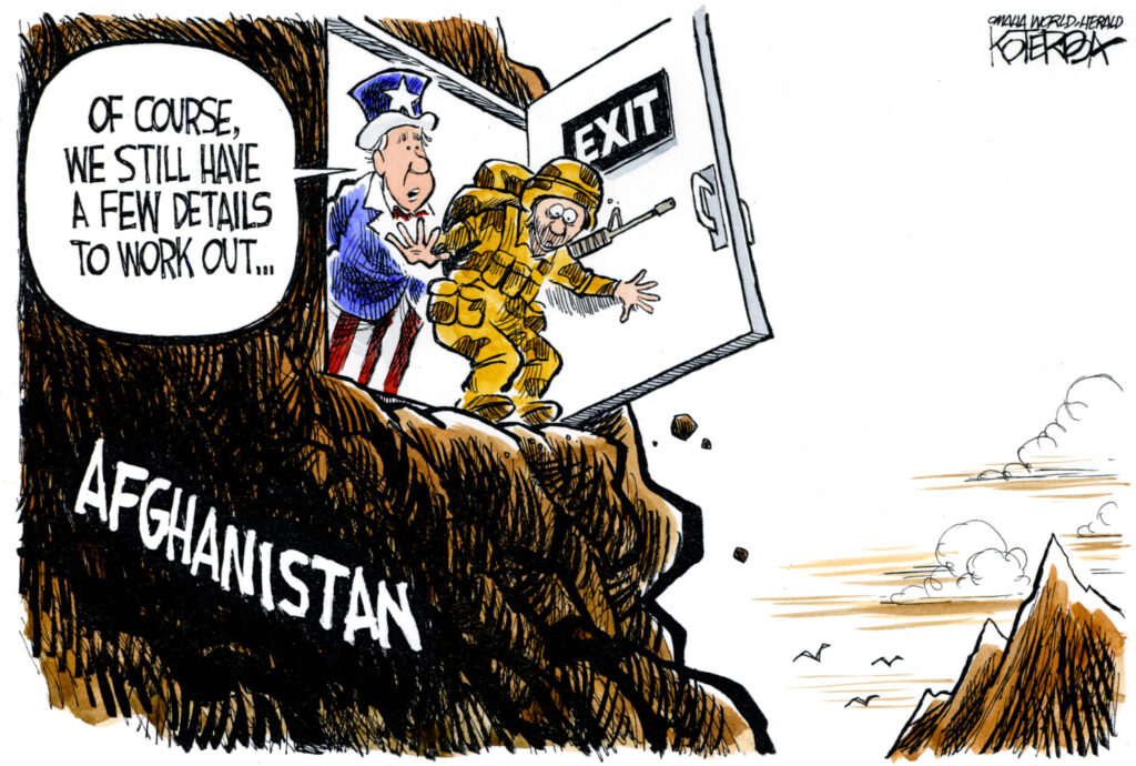 "Jeff Koterba color cartoon for 8/3/2010 ""Afghanistan Exit"""