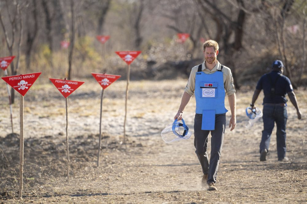 Britain's Prince Harry walks through a minefield in Dirico, Angola Friday Sept. 27, 2019, during a visit to see the work of landmine clearance charity the Halo Trust, on day five of the royal tour of Africa.
