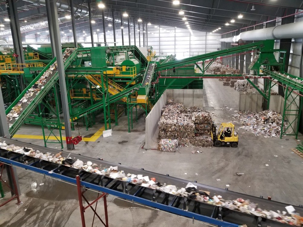Waste and baled recyclables in Fiberight's Hampden waste recovery plant. The plant closed temporarily in May until the Municipal Review Committee can find a buyer. Three buyers are being considered.